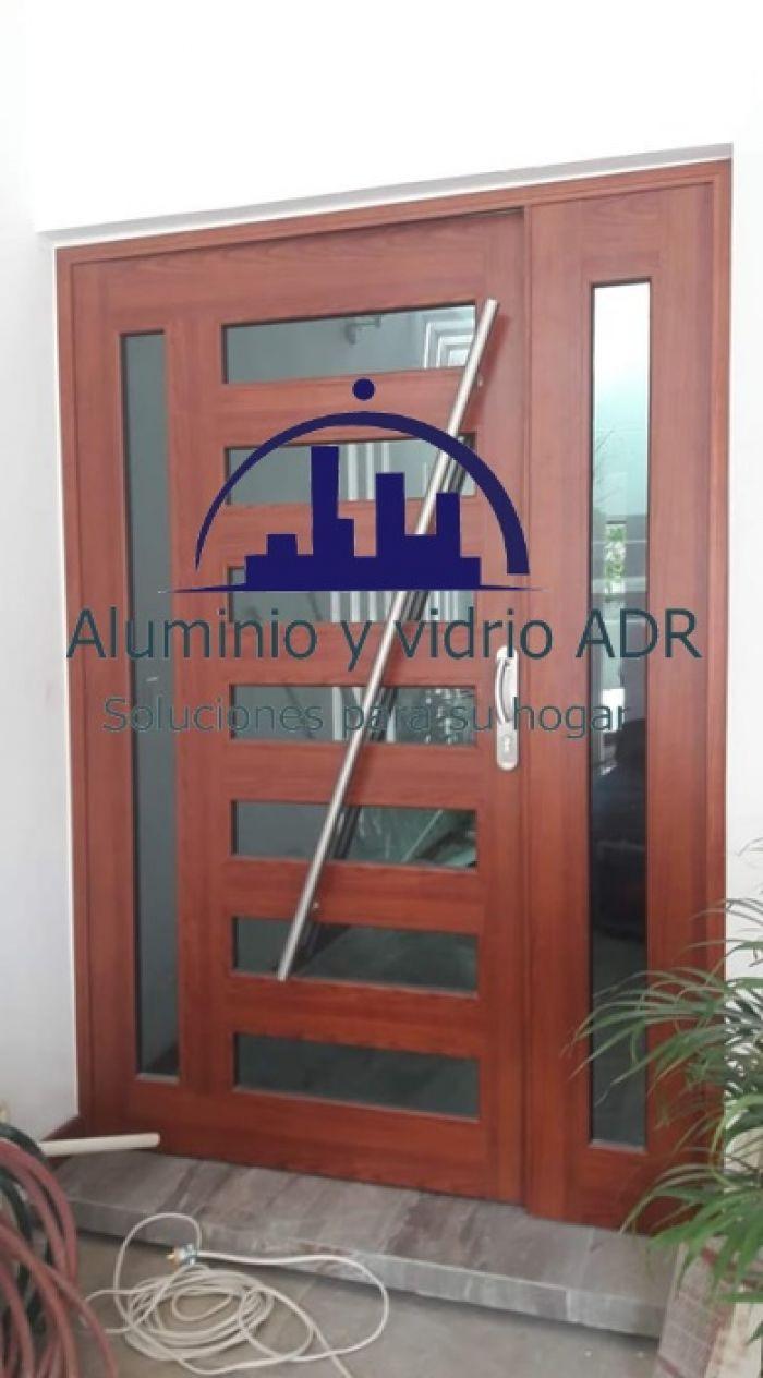 Puertas En Aluminio Acabado Madera Aluminio Y Vidrio Adr Fabricamos E Instalamos Puertas Y Ventas De Vidrio Y Aluminio En Toda La Zona Metropolitana